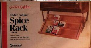 ❤CABINET AIDES Wood & Metal Under Cabinet SPICE RACK C-8610 Vintage Amerock