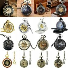 Vintage Pocket Watch Double Hunter Open Face Bronze Mechanical Watch &Chain Gift