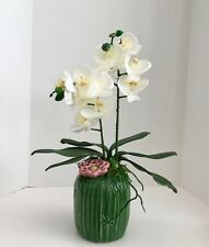 Floral Arrangement in Green Ceramic Vase with White Orchids