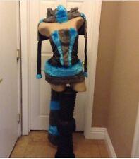 Sexy deluxe Cheshire Cat alice in wonderland  Halloween costume small blue grey