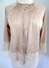 VINTAGE Nude Beige Wide LACE Komar Bed Jacket Romantic Women's sz. Sm/med Roomy!