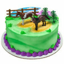 Horse 5 piece Cake Kit Topper Cake Decorating Kit 2 horses 1 fence 2 trees