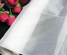 1 Yard 100%  Pure Silk Organza Fabric Material Bright White Transparent Sheer