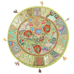 Indian Round Floor Pillow Cover Vintage Patchwork Green 22x22 Cotton Boho Seat