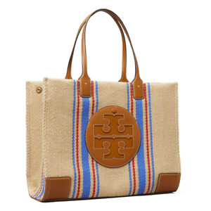 AUTH NWT $428 Tory Burch Ella Leather Trimmed Striped Jute Large Shoulder Tote