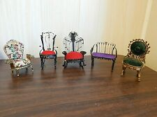 Lot of 5 Pcs. Vintage Hand-Made Miniature 'Tin Can' Furniture, Chairs, Bench