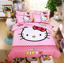 Pink Square Hello Kitty Kids Bedding Set Duvet Cover Bed Sheet twin full queen