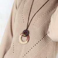 Round Wood Circle pendant Velvet Rope Necklace Jewelry Lady Girls Charms