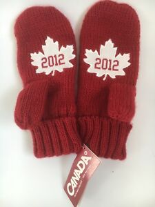 Canada Olympics Hudson's Bay Red Mittens Gloves - Rare  2012 Winter Wear L/XL