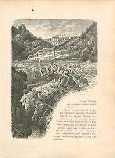 La province de Liège Provinz Lüttich Waremme Verviers GRAVURE ANTIQUE PRINT 1880