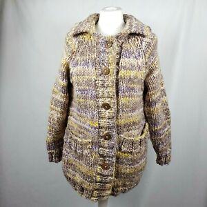Handmade Womens Chunky Knit Cardigan UK10-12 Beige Multi Wooden Button Pockets
