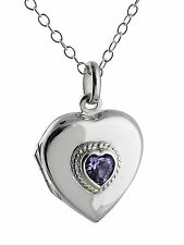 Heart Locket Necklace  -925 Sterling Silver - Purple CZ Gift Two Photos NEW