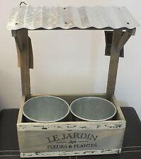 LEGNO FIORIERA DOPPIA CON TETTO ONDULATO & 2 vasi in metallo all' aperto o in ambienti interni