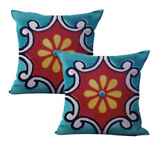 Us Seller-2pcs home office decor Mexican Spanish talavera cushion cover