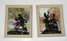 2 Vintage Convex Bubble Glass Reverse Painted Silhouette Pictures Romantic