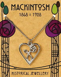Charles Rennie Mackintosh Pewter Heart Pendant On A Chain