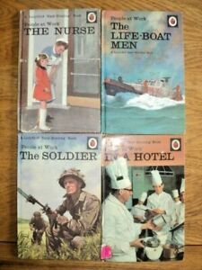 VINTAGE LADYBIRD BOOKS X 4 - PEOPLE AT WORK - HOTEL, NURSE, SOLDIER,LIFE-BOATMEN