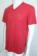 Lacoste Pima Cotton Jersey  V-Neck T-Shirt S-Sleeve NWT Color Red Sz Medium/4