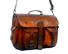Men's Brown Genuine Real Leather Messenger Bag Crossbody Laptop Briefcase Gift
