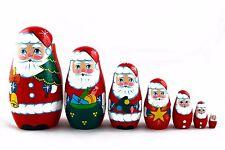 Matryoshka Russian Nesting Doll Babushka Santa Claus Christmas New Year 7 Pieces