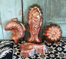 TAGUS Portugal tin lined Copper Mold Lot/4 molds metalware Patina Lobster Fish +