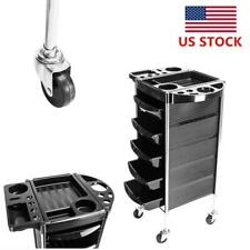 Beauty Salon Styling Roller Station 5 Drawer Trolley Cart Barber Equipment Black