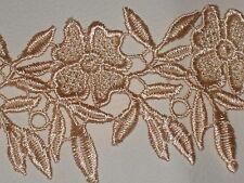"""2 yards in 2 1/4"""" width peach color crochet poly cotton floral trim /applique"""
