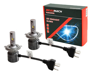 BRAUMACH 6000K LED Headlight Bulbs Globes H4 For Mercedes Benz 190 E Sedan 1990-