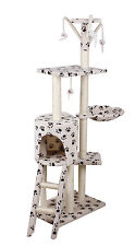 Cat Scratching  Scratcher Tree Activity Toy Pet Playing Center beige with paw