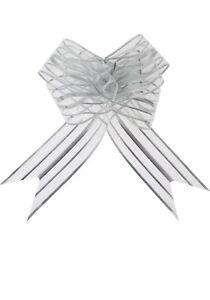 4 packs of 10 Pull Flower Ribbons silver stripe wedding flower