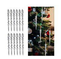 12pcs 13cm Clear Simulation Icicle Christmas Tree Hanging Ornament Xmas Decor