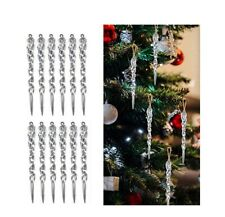 12pcs 13cm Clear Simulation Icicle Christmas Tree Hanging Ornament Xmas Decor