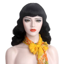 Finger Wave Wig For Women Cosplay 70s 80s Flapper Girls Retro Long Hair Black