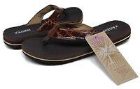 Women's Kagen® Yoga Mat Brown Croco Print Med Width Thongs Sandals Flip-Flops Sz