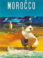 Morocco Africa Moroccan African Vintage Travel Advertisement Art Poster
