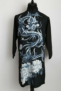 Ao Dai Nam Cach Tan, Vietnamese Traditional Dress for Men Black Dragon Design
