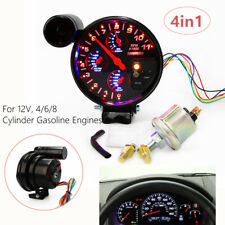 "5"" 4 in 1 Auto Tachometer RPM w/ Shift Light Oil Pressure Water Oil Temp Sensor"