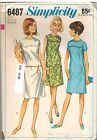 6487 Vintage Simplicity Sewing Pattern Misses 1960s One Piece Dress Top Stitched
