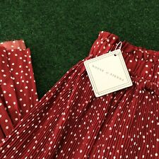 House Of Sienna Red Polka Dot Pleated Midi Skirt Size 10 BNWT