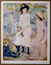 Renoir Children on the Seashore Vintage Lithograph