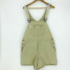 Vintage 90's Dkny Khaki Shortall 100% Cotton Adjustable Large Carpenter Loop