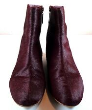 Kooba Ankle Boots Womens Wine Leather Pony Hair Zip-Up Shoes Size 8.5 M