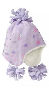 Baby GAP Girls Fleece Stars Sparkle Pom Pom Trapper Hat Winter Snow 4 5 Years