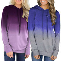 Women Pocket Long Sleeve Hoodies Sweatshirt Pullover Shirt Casual Tops Blouse