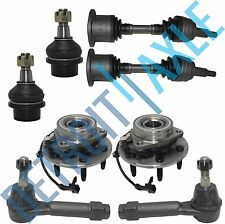 8pc Front CV Axle Shaft + Ball Joint + Tie Rod + Wheel Hub & Bearing Kit 4WD ABS