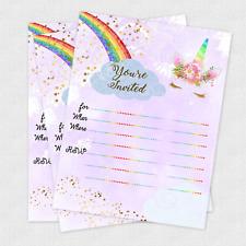 20 Birthday Invitations Girl Unicorn Invites Slumber Party Girls Invitation Card