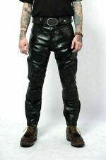 Men's Real Cowhide Leather Pants Punk Kink Jeans Trousers BLUF Gay Fetish Biker