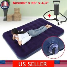 Air Bed Mattress Queen Size Inflatable Downy Sleeping Camping In With Pump US