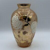 Vintage Light Peach Hand Painted Floral Crackle Bouquet Glass Vase