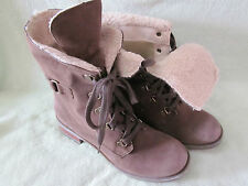 Skechers 9M Cuffed Tie Up Boots Brown Synthetic Leather NWT Really CUTE!
